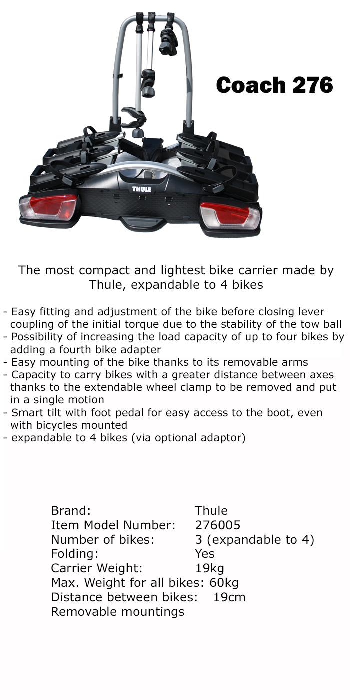 thule coach 276 3 4 bike car rack bicycle carrier tow. Black Bedroom Furniture Sets. Home Design Ideas