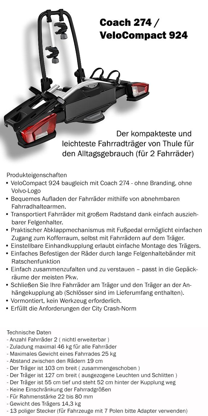 thule velocompact 924 coach 274 ahk fahrradtr ger. Black Bedroom Furniture Sets. Home Design Ideas